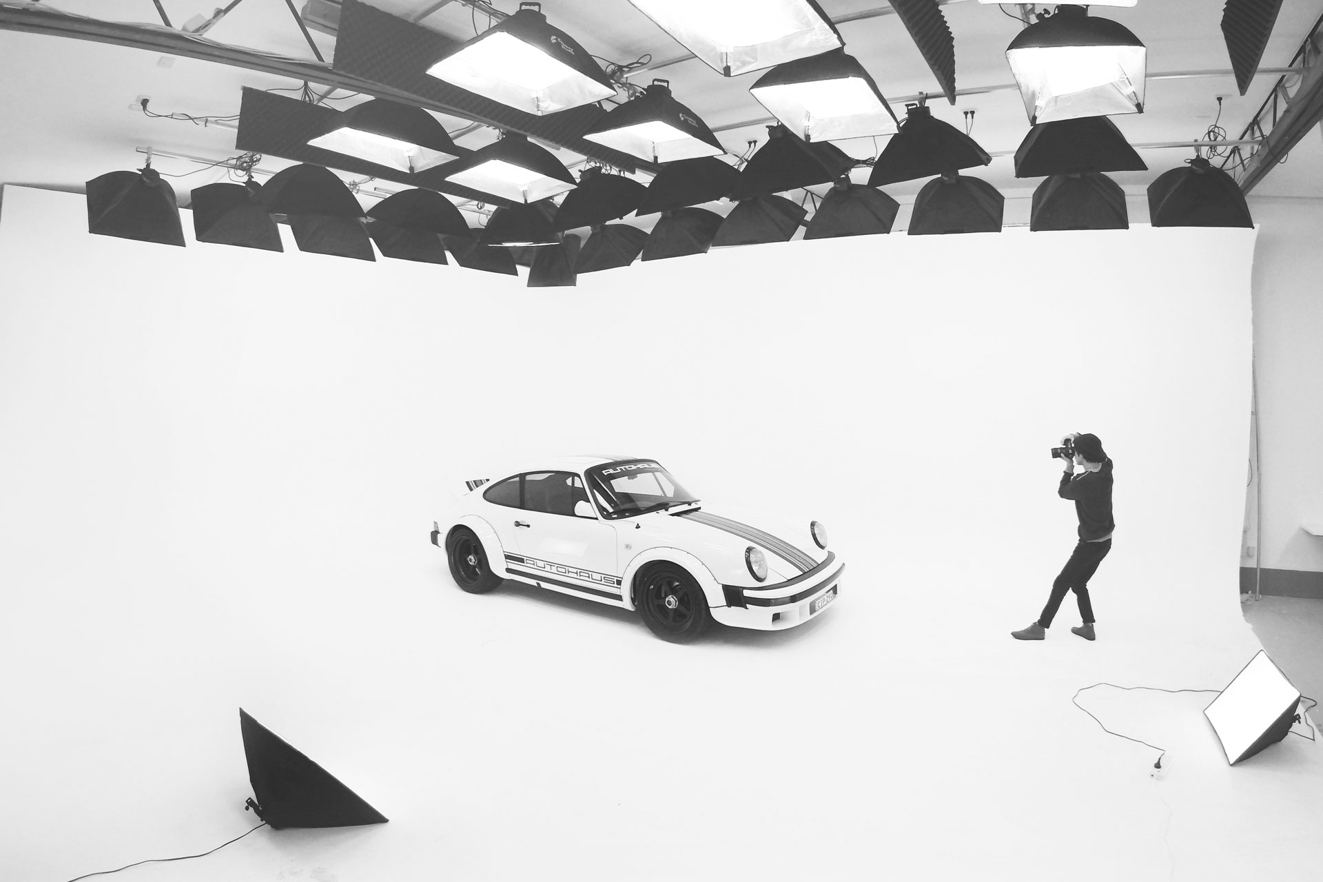 AUTOHUAS Porshe in the studio being photographed by our in-house photographer Curtis Redden.